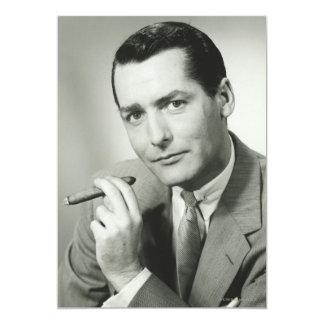 Cigarro que fuma del hombre de negocios invitación 12,7 x 17,8 cm