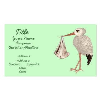 Cigüeña clásica 1 (neutral) (fiesta de bienvenida tarjetas de visita