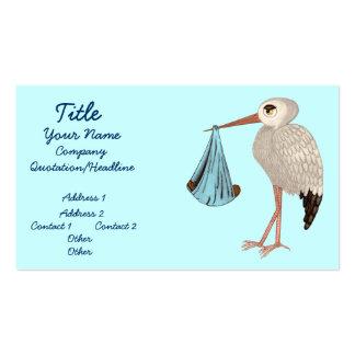 Cigüeña clásica 2 (azules) (fiesta de bienvenida a tarjeta de visita