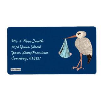Cigüeña clásica (azul) (fiesta de bienvenida al etiqueta de envío