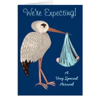 Cigüeña clásica (azul) (fiesta de bienvenida al tarjeta de felicitación