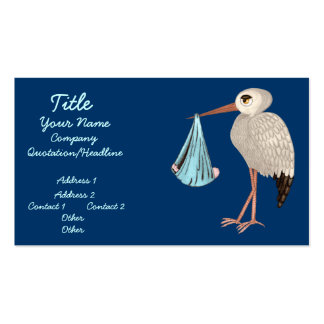 Cigüeña clásica (azul) (fiesta de bienvenida al tarjetas de visita