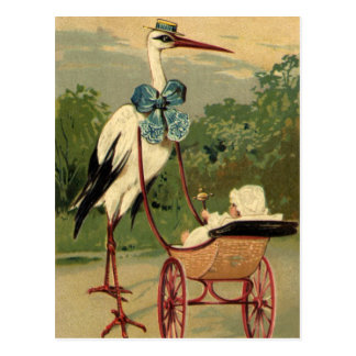 Cigüeña del Victorian del vintage y carro de bebé Postal