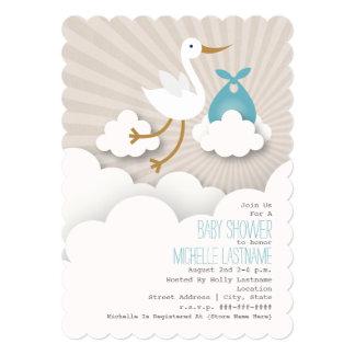 Cigüeña en la fiesta de bienvenida al bebé de las invitación 12,7 x 17,8 cm