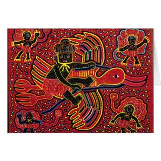 Cigüeña india de Kuna que trae diseño del bebé Tarjeta De Felicitación