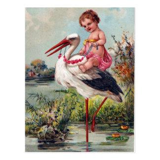 Cigüeña y bebé a partir de 1909 postal