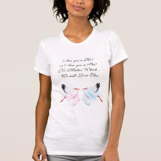 Cigüeñas bonitas que cuentan con la camiseta