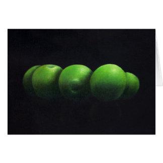 Cinco manzanas verdes tarjeta de felicitación