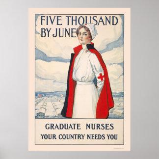 Cinco mil en junio - enfermeras graduadas necesari poster