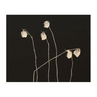 Cinco rosas impresión en madera