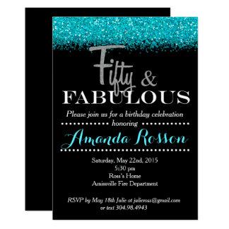 Cincuenta e invitaciones fabulosas del cumpleaños invitación 12,7 x 17,8 cm