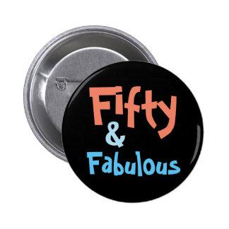 Cincuenta y 50.o botón fabuloso del cumpleaños