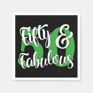 Cincuenta y blanco fabuloso y tipografía verde de servilleta desechable