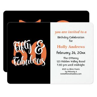 Cincuenta y fiesta de cumpleaños anaranjada invitación 12,7 x 17,8 cm