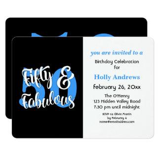 Cincuenta y fiesta de cumpleaños azul fabulosa de invitación 12,7 x 17,8 cm
