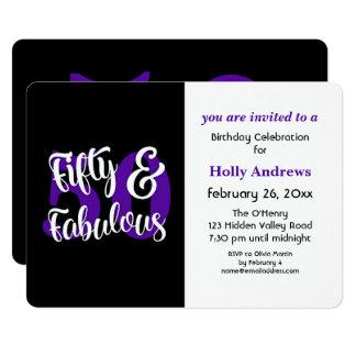 Cincuenta y fiesta de cumpleaños púrpura fabulosa invitación 12,7 x 17,8 cm