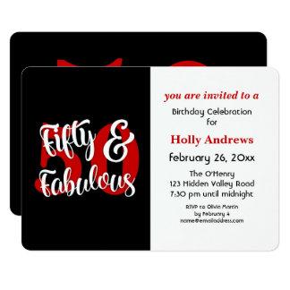 Cincuenta y fiesta de cumpleaños roja fabulosa de invitación 12,7 x 17,8 cm