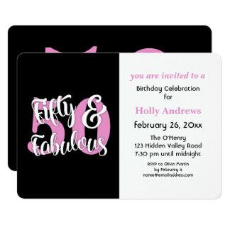 Cincuenta y fiesta de cumpleaños rosada fabulosa invitación 12,7 x 17,8 cm