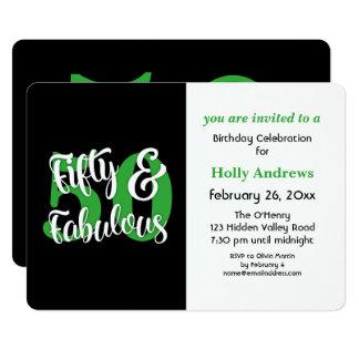 Cincuenta y fiesta de cumpleaños verde fabulosa de invitación 12,7 x 17,8 cm
