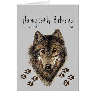 Cincuenta y nueve divertido, 50.o, lobo del cumple tarjeta de felicitación