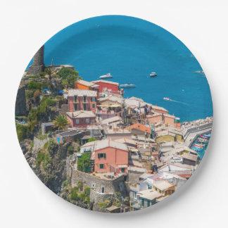Cinque Terre Italia en la Riviera italiana Plato De Papel