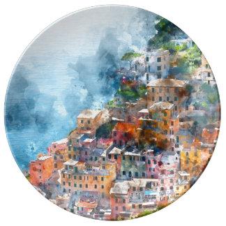 Cinque Terre Italia en la Riviera italiana Plato De Porcelana