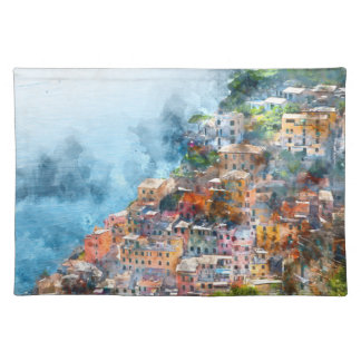 Cinque Terre Italia en la Riviera italiana Salvamanteles