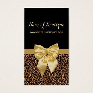 Cinta amarilla femenina del estampado leopardo tarjeta de visita
