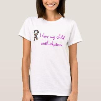 cinta, amo a mi niño con autismo camiseta