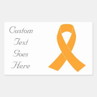 Cinta anaranjada de la conciencia - leucemia, ms pegatina rectangular