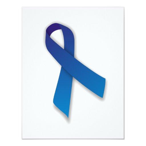 Cinta azul de la conciencia y de la conmemoración invitación personalizada