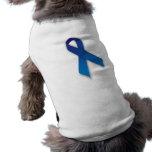 Cinta azul de la conciencia y de la conmemoración camiseta de perrito