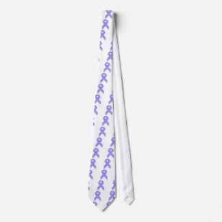 Cinta azul y blanca de la conciencia de la raya corbatas personalizadas