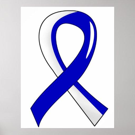 Cinta blanca azul 3 del ALS Poster