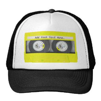 Cinta de casete adaptable de neón amarilla gorros bordados