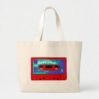 Cinta de casete audio retra roja bolsas lienzo