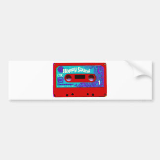 Cinta de casete audio retra roja etiqueta de parachoque