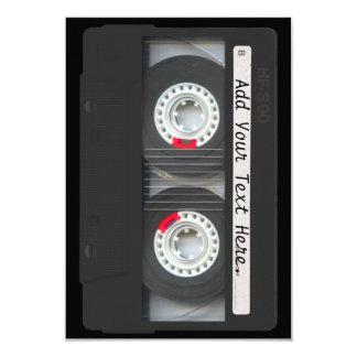 Cinta de casete negra retra invitación 8,9 x 12,7 cm