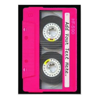 Cinta de casete rosada femenina adaptable invitación 8,9 x 12,7 cm