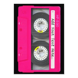 Cinta de casete rosada femenina adaptable invitación 12,7 x 17,8 cm