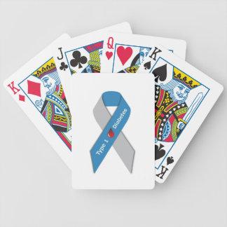 Cinta de la conciencia de la diabetes del tipo 1 barajas de cartas
