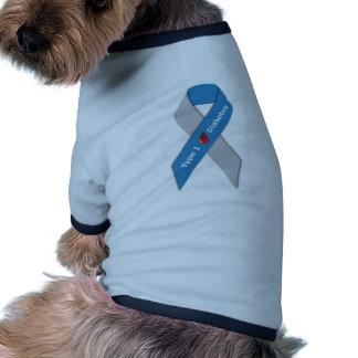 Cinta de la conciencia de la diabetes del tipo 1 camiseta con mangas para perro