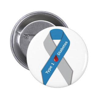 Cinta de la conciencia de la diabetes del tipo 1 chapa redonda de 5 cm