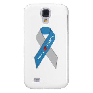Cinta de la conciencia de la diabetes del tipo 1 funda para galaxy s4