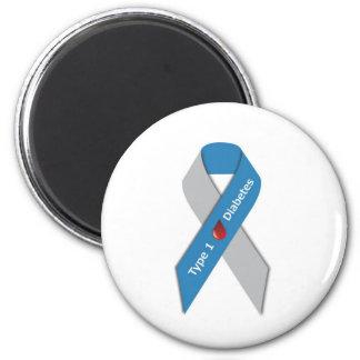 Cinta de la conciencia de la diabetes del tipo 1 imán redondo 5 cm