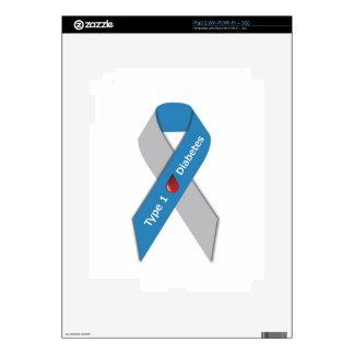 Cinta de la conciencia de la diabetes del tipo 1 iPad 2 skins