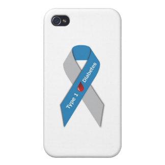 Cinta de la conciencia de la diabetes del tipo 1 iPhone 4 fundas