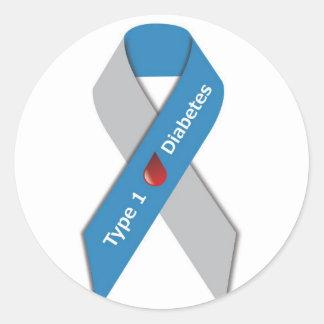 Cinta de la conciencia de la diabetes del tipo 1 pegatina redonda