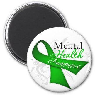 Cinta de la conciencia de la salud mental iman de nevera