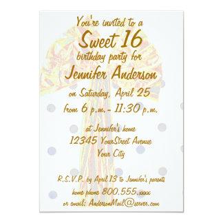 Cinta de la hoja de oro del dulce 16 invitación personalizada
